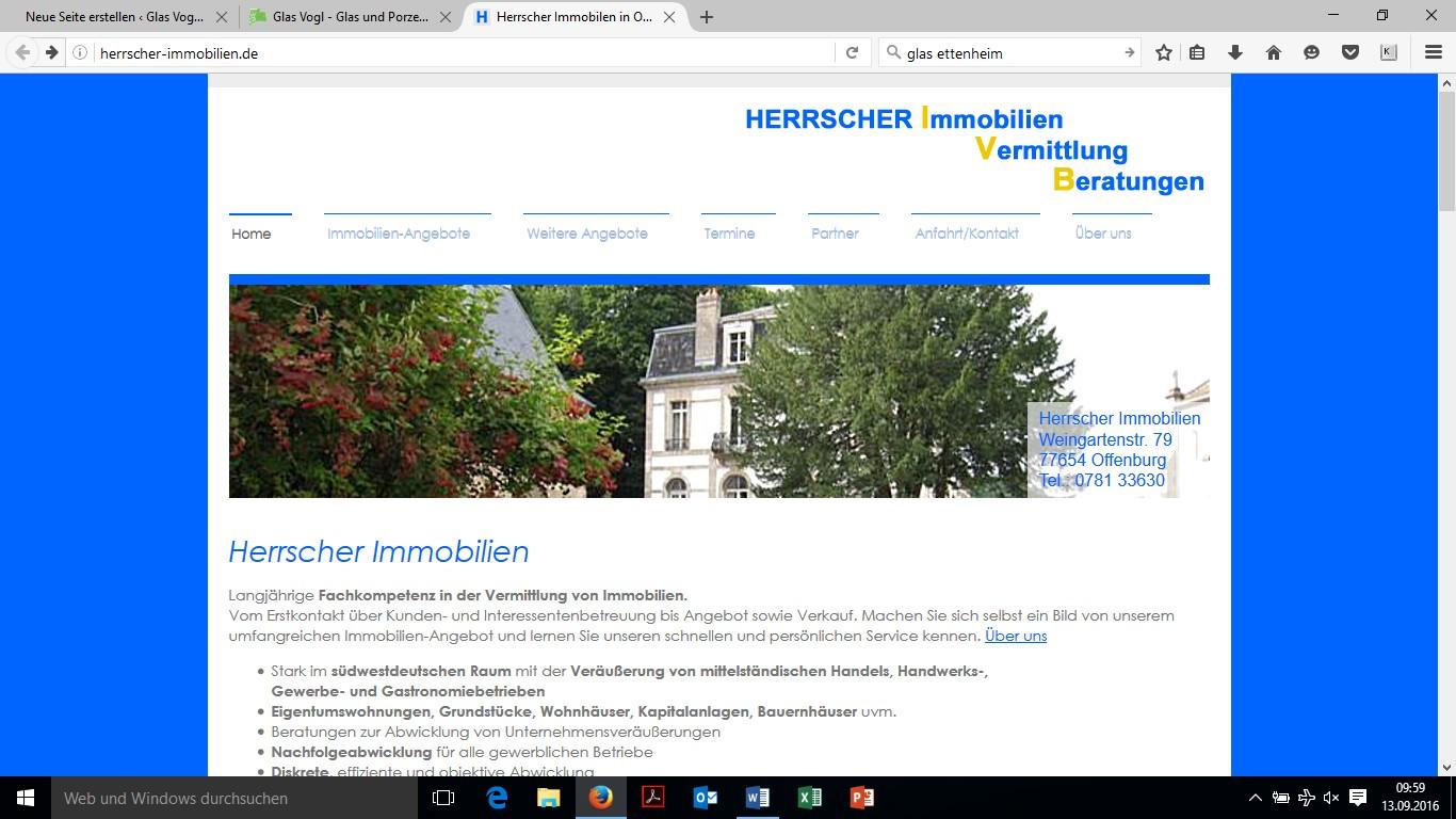 Internetseite von Herrscher-Immobilien